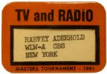 1961 Masters TV and Radio Pass - CBS