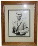 Framed and Autographed Ben Hogan 8x10 Photo with Claret Jug