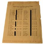 1946 Masters Tournament Sunday Pairing Sheet-*Caddy No. Only blacked out on Image Not on Original