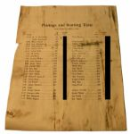 1941 Masters Tournament Sunday Pairing Sheet *Caddy No. Only blacked out on Image NOT on Original