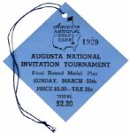 1934 Augusta National Invitational Tournament Ticket - The Best Known Example That Exists!