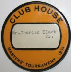 1939 Masters Tournament Clubhouse Pinback Badge - Issued to Bobby Jones Atlanta Neighbor