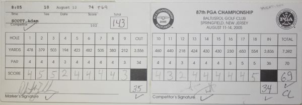 2005 PGA Scorecard - Adam Scott Scorecard w/Champion Phil Mickelson Marker Actual Card