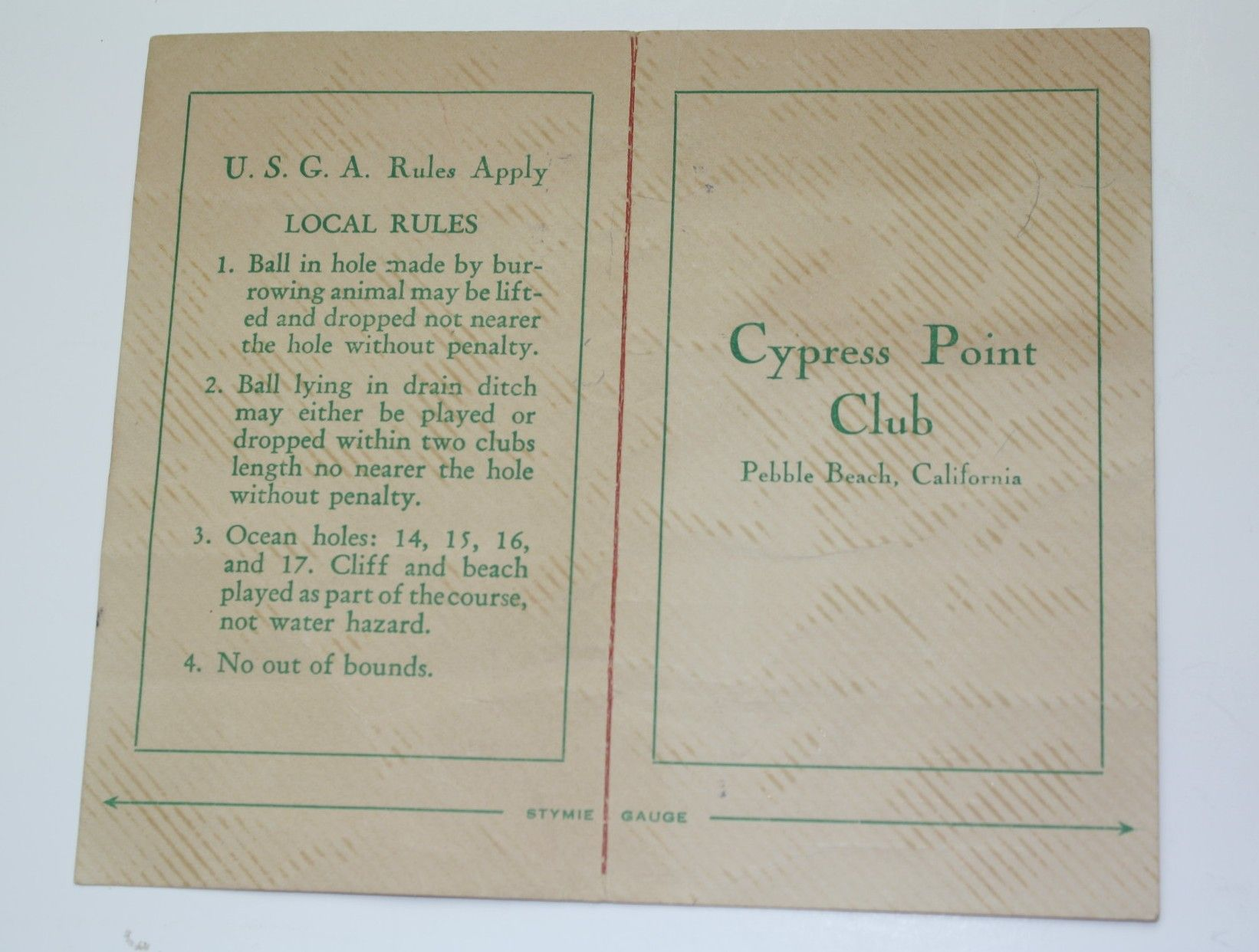 lot detail - 1960 cypress point scorecard