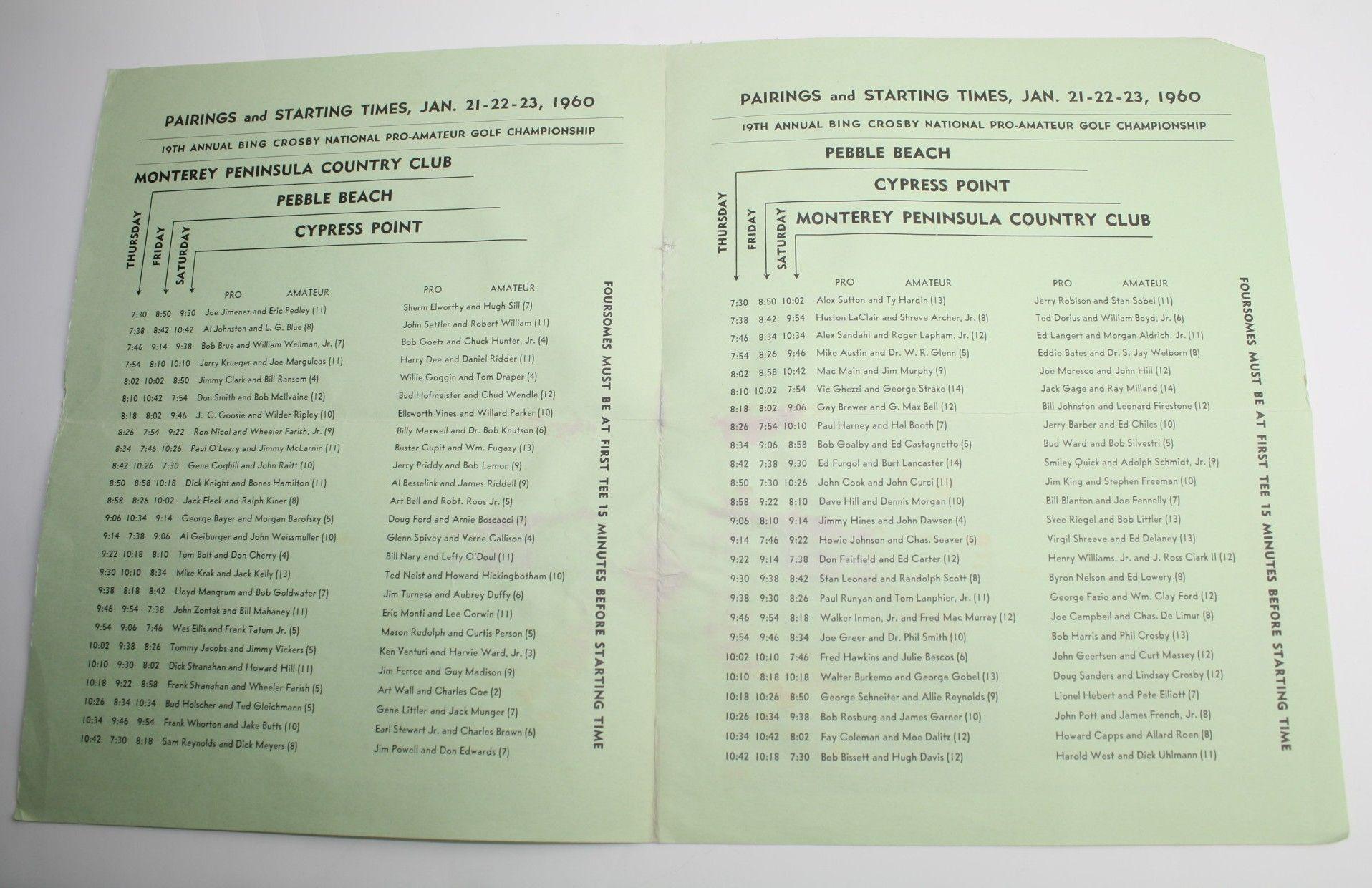 1960 Bing Crosby Program, Pairing Sheet