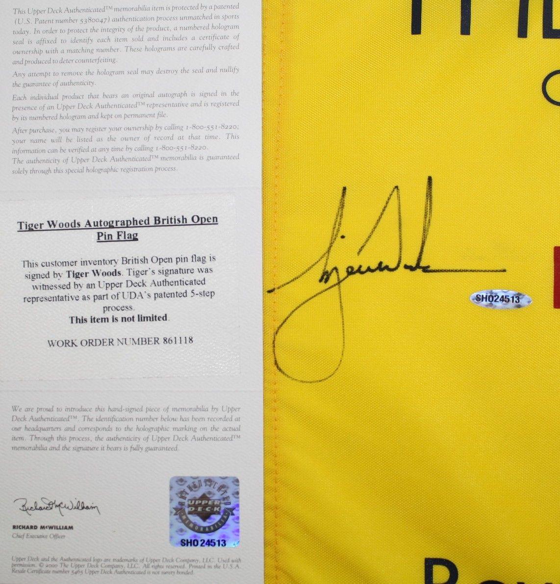 lot detail - tiger woods signed 2006 british open flag - royal liverpool