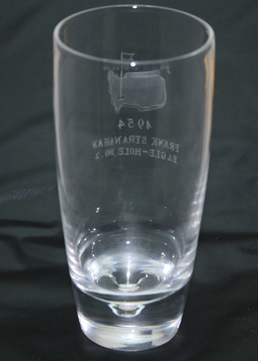 lot detail - 1954 masters awarded eagle hole  2 crystal highball glass - frank stranahan