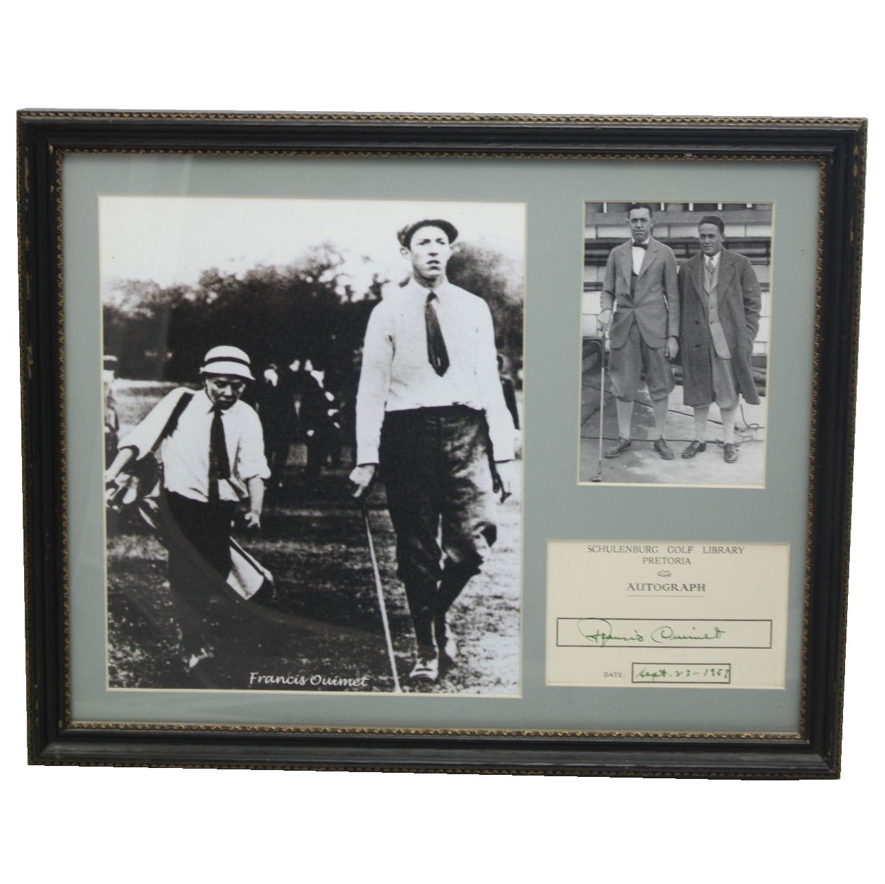 Lot detail francis ouimet framed autograph sourced from francis ouimet framed autograph sourced from collection of mark emerson jsa coa jeuxipadfo Choice Image