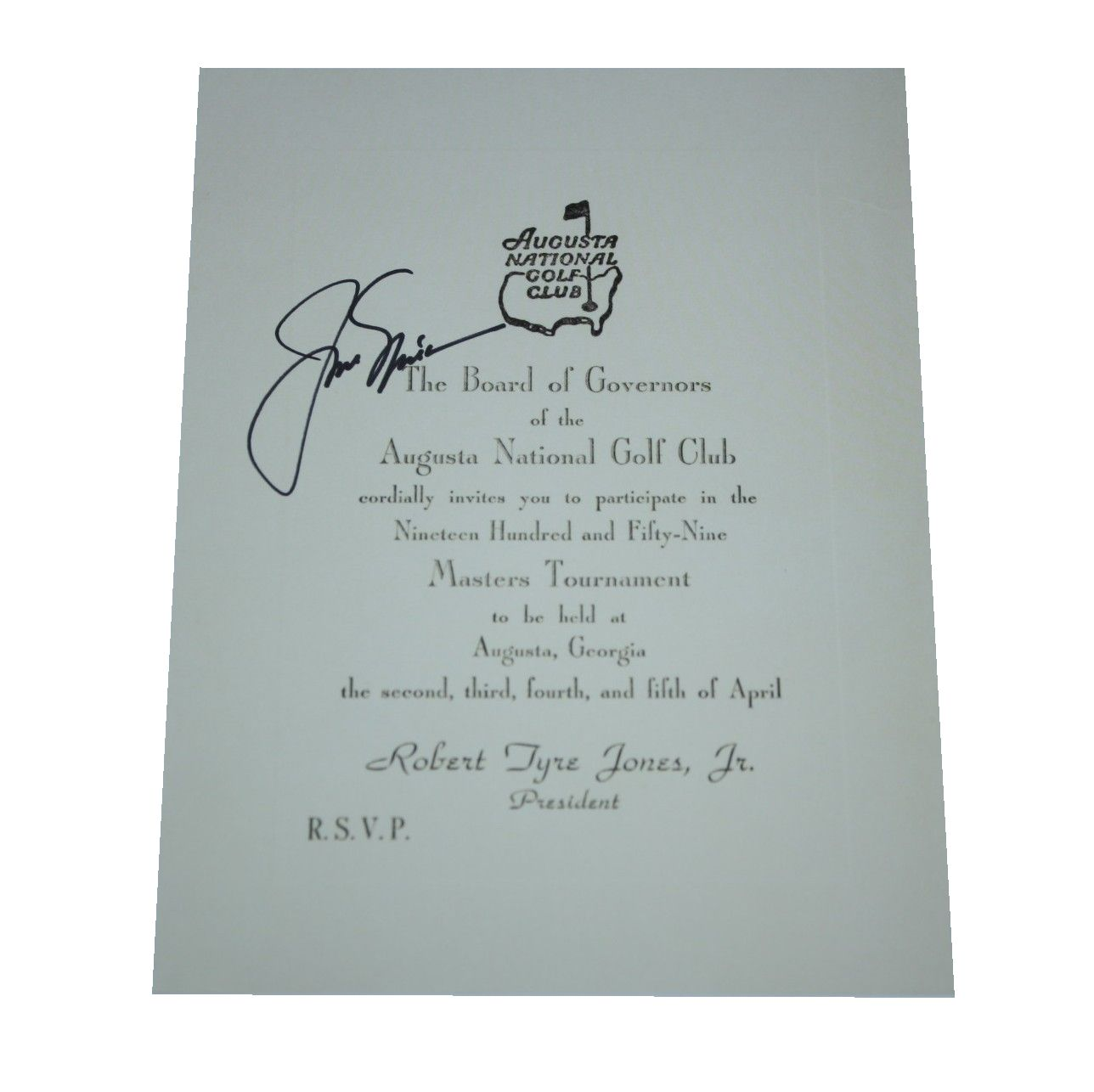 Golf tournament invitation letter letter idea 2018 tournament invitation letter jsa coa lot detail jack nicklaus signed reion 1959 masters stopboris Images
