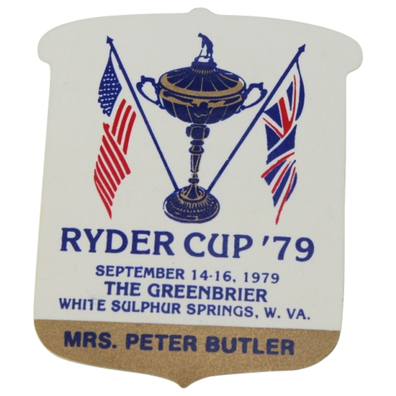 lot detail - 1979 ryder cup contestants wife badge - the greenbrier