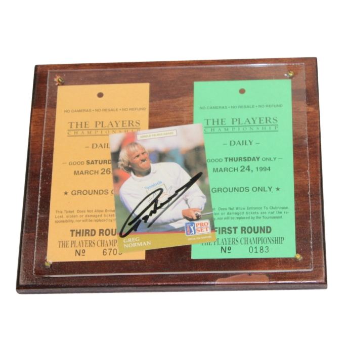 lot detail greg norman signed 1991 pro set golf card plus two 1994 players tickets jsa coa. Black Bedroom Furniture Sets. Home Design Ideas