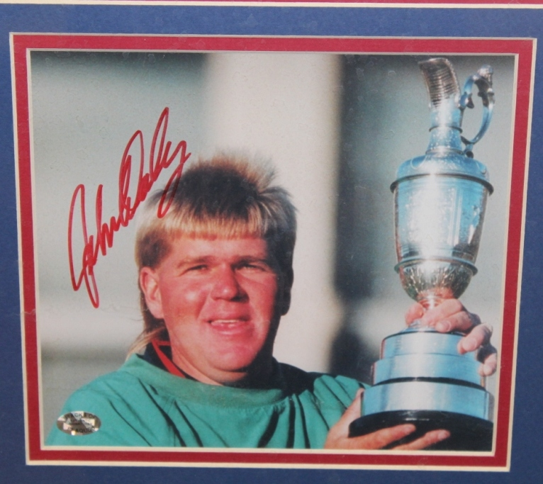 lot detail - john daly 1995 british open signed photo with flag and scorecard display