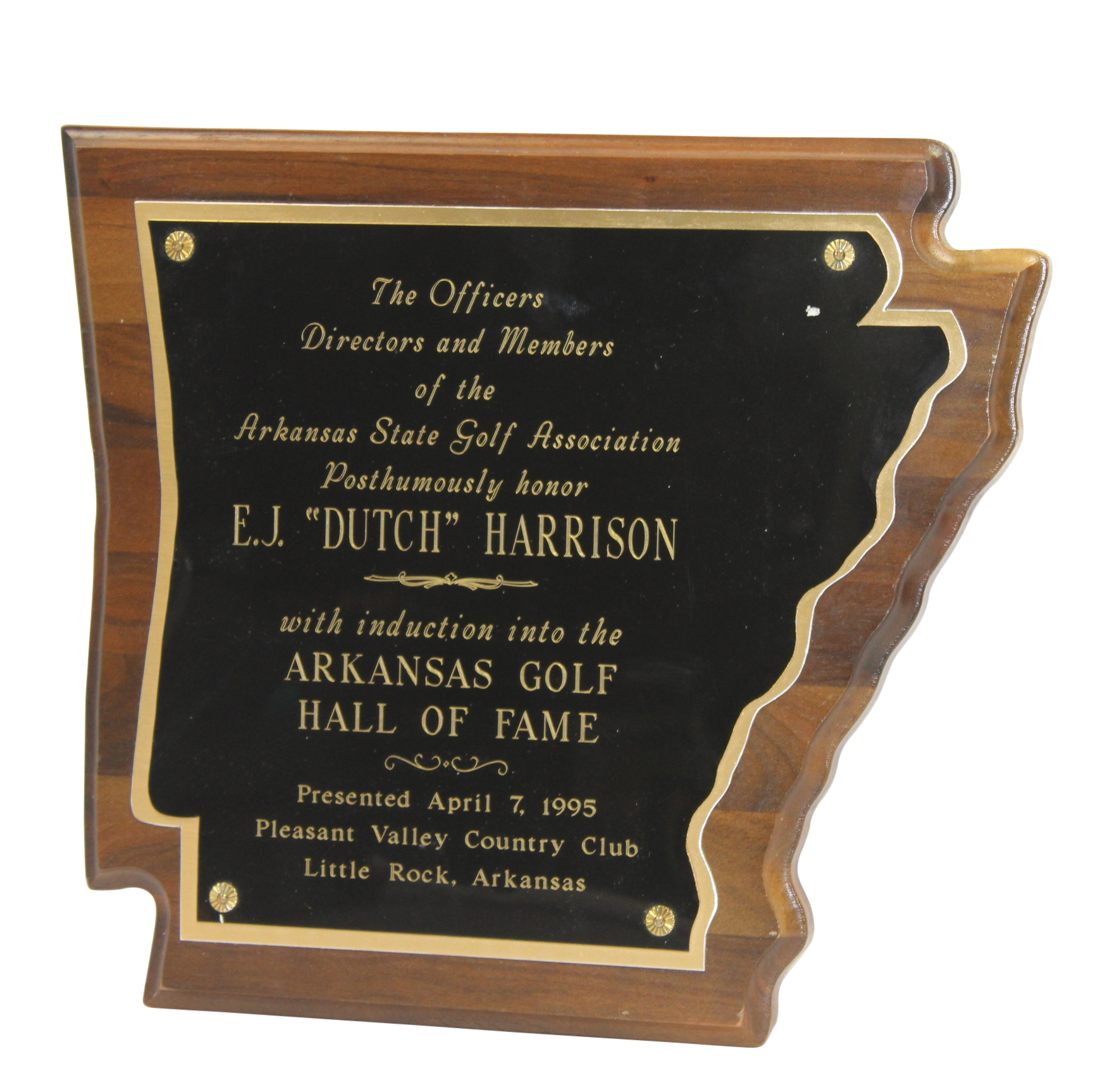 lot detail 1995 arkansas golf hof posthumous e j dutch harrison induction plaque. Black Bedroom Furniture Sets. Home Design Ideas