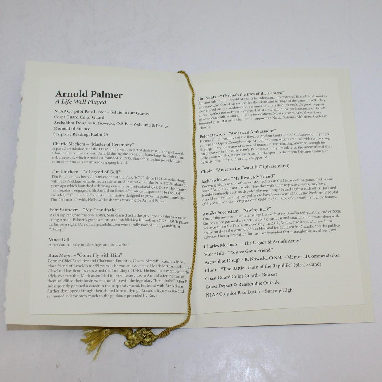 arnold palmer memorial funeral service program