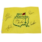 2012 Masters Champs Flag Signed by Big Three Plus Woods & Mickelson JSA ALOA
