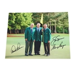 Big Three Signed Color Photo in Masters Green Jackets JSA ALOA