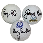Three PGA Championship Course Logo Golf Balls Signed by Champions Burke, Bradley and Finsterwald JSA ALOA