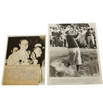 1937 Wire Photos: Ralph Guldahl with Trophy & Photo of Frank Walsh