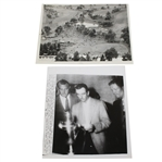 1946 US Open Wire Photos: Mangrum with Nelson and Ghezzi & Course During Tournament