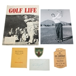 1954 US Open Championship Items - Ticket, Scorecard(Stymie), 8x10, Signed Card JSA ALOA