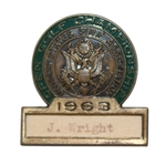 1963 US Open at The Country Club Contestant Badge - Julius Boros Winner