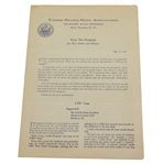 1942 USGA Keep Em Swinging! War Relief & Defense Support Letter - Seldom seen