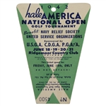 1942 Hale America National Open Friday Ticket #4500-HOGANS 1ST MAJOR WIN? - RARE- McMahon Find! - McMahon Collection