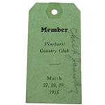 1935 Pinehurst Country Club Member Ticket - March 27-29