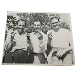 Photo of Ben Hogan, Harold McSpaden, and Herman Barron at 1942 PGA Championship Qualifier with Fingers Crossed