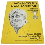 1976 Jack Nicklaus Golf Exhibition Program W/Vintage Nicklaus Ink Autograph JSA ALOA