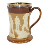 Silver Rimmed Doulton Lambeth Mug- Golfers Depicted - R. Wayne Perkins Collection