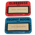 1978 Trophy Room Badge #452 & 1978 Clubhouse Badge #266 - Hugh & Betty Wessinger