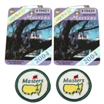 Two 2004 Masters Badges with Two Masters Logo Undated Circle Patches
