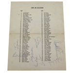 Palmer, Nicklaus, Lema, and Others Signed 1965 Masters Par 3 Pairing Sheet JSA ALOA