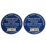 Two 1954 US Open at Baltusrol Grounds-Club House Badges X-464 & X-461