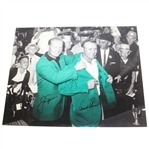 Arnold Palmer & Jack Nicklaus Signed B&W with Color 16x20 Jacket Photo JSA ALOA