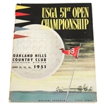 1951 US Open at Oakland Hills CC Program - Ben Hogan Winner