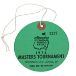 1974 Masters Tournament Wednesday Ticket #9227