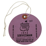 1974 Masters Tournament Thursday SERVICEMAN Ticket #107 - Low Number
