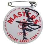 Arnold Palmer Signed 1964 Masters Series Badge #9203 JSA ALOA