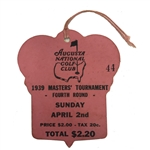 1939 Masters Sunday Final Round Ticket #44 - Seldom Seen Ticket Adverse Weather!