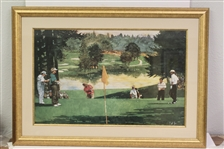 Arnold Palmer, Jack Nicklaus, Fuzzy Zoeller, and Chi Chi On the Green Print - Framed