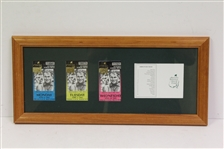 2002 Masters Monday, Tuesday, & Wednesday Ticket with Scorecard - Framed