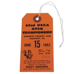1962 US Open at Oakmont CC Ticket #3762 - Nicklaus First Win & Major