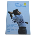 Tom Watson Signed 1980 Open Championship at Muirfield Program JSA ALOA