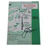 Jack Nicklaus Signed 1972 Masters Tournament Spectator Guide JSA ALOA