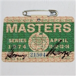 Gary Player Signed 1974 Masters Series Badge #21504 JSA ALOA