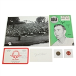 1955 US Open Championship Items - Magazine, Ball Markers, Scorecard, Signed Card JSA ALOA