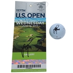 Justin Rose Signed Masters Logo Golf Ball & 2017 US Open Wednesday Ticket JSA ALOA