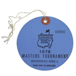 1978 Masters Tournament Wednesday Par 3 Day Ticket #02690